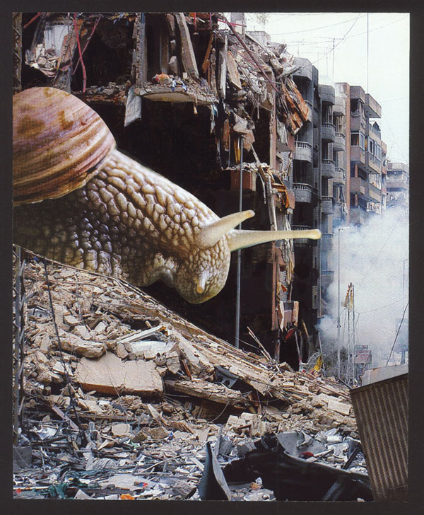 Tomi Ungerer, Inspecting the Damage, 2010, Photo Collage