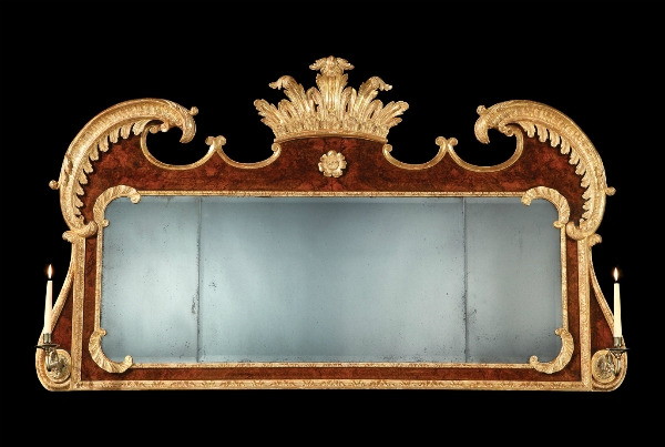 Burr walnut and parcel gilt overmantel mirror