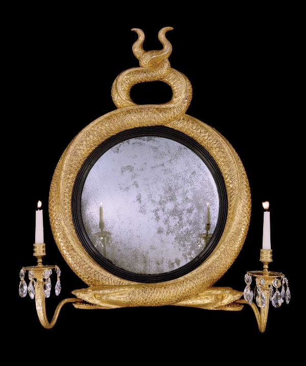 Regency giltwood convex mirror, 1815