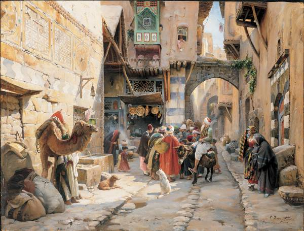 Gustav Bauernfeind, A Street Scene, Damascus