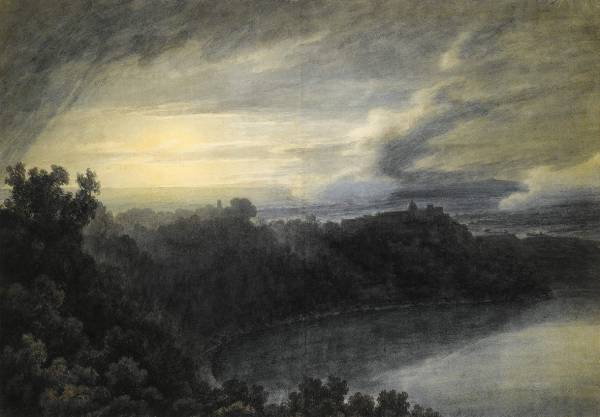 John Robert Cozens, The Lake of Albano and Castel Gandolfo;
