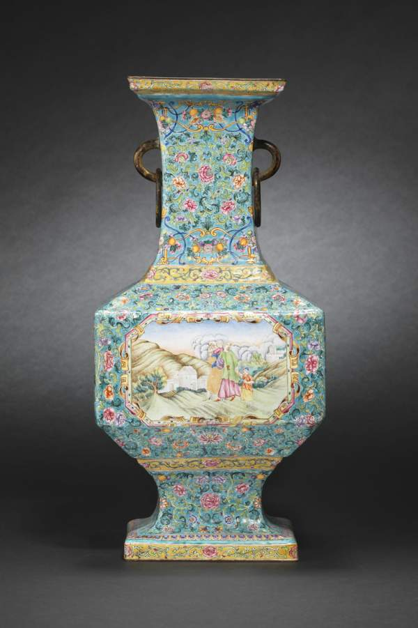 "An Imperial enameled ""European subject"" vase, Qianlong seal mark and of the period"