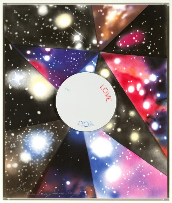 James Rosenquist, Time Lines, 2012, framed lithograph in eight colors with an etched hand-colored rotating mirror, edition 44