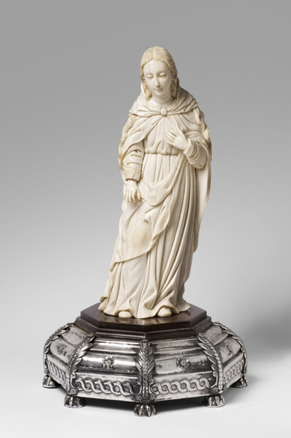 Virgin Mary, 18th century, artist/maker unknown, Hispano-Philippine, ivory, mounted on a wood base, covered with repoussé and chased silver.
