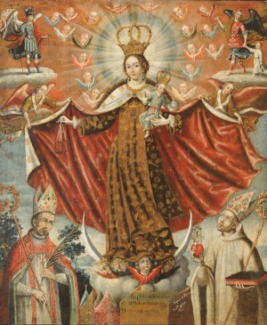 Gaspar Miguel de Berrío, Our Lady of Mount Carmel with Bishop Saints, 1764, oil on canvas.
