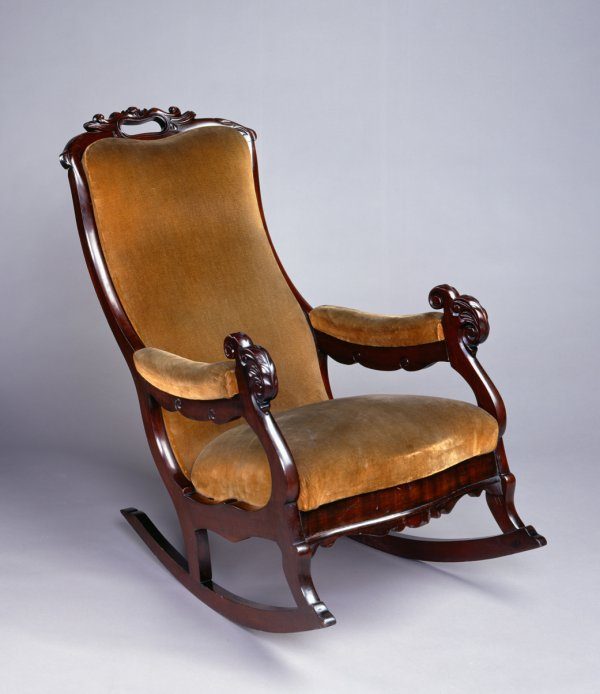 Thomas Day, Rocking Chair, 1855-60, mahogany veneer over yellow pine, and poplar, Grecian style.