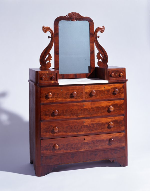 Thomas Day, Pedestal Bureau, 1855, mahogany veneer over yellow pine, and poplar, Grecian style.