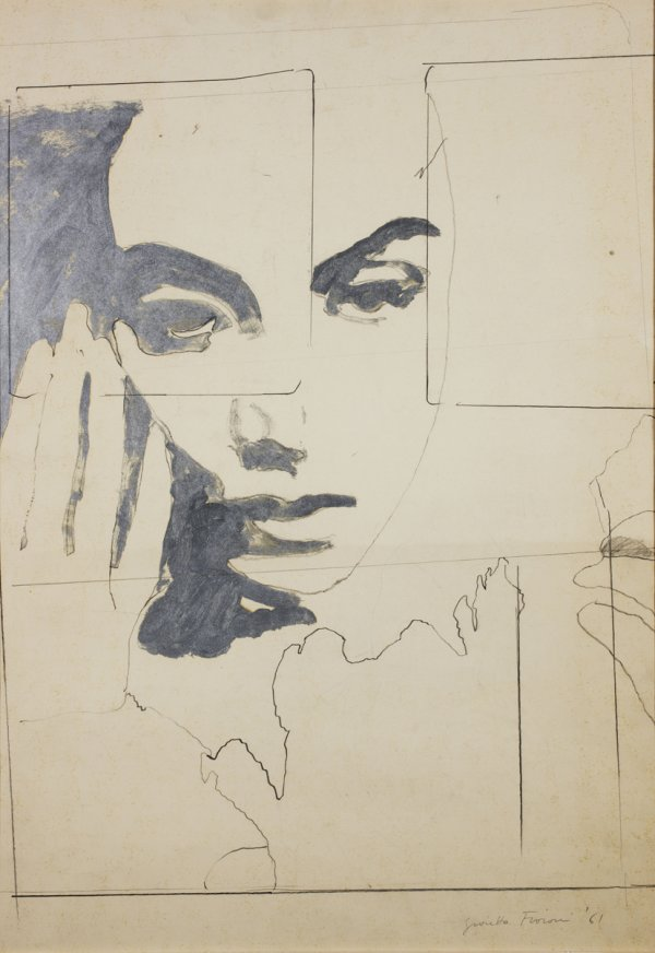 Una lacrima sul viso (Tear on Cheek), 1964, pencil, white and aluminum enamel on canvas.