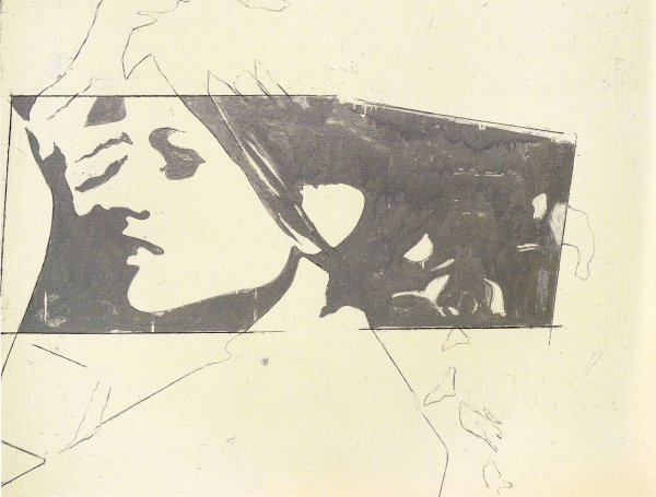 Giosetta Fioroni, Ragazza TV (TV Girl), 1964, pencil and aluminum enamel on paper.
