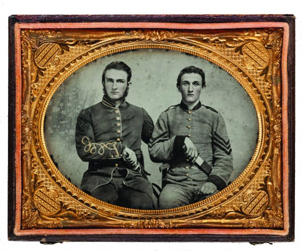 quarter-plate ambrotype with applied color