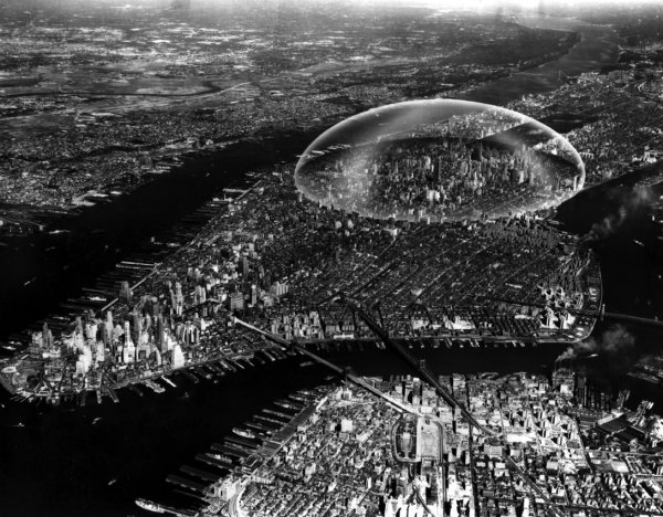 Rendering of Buckminster Fuller's proposed glass dome over Manhattan