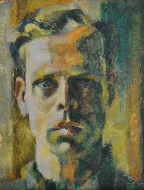 Cleve Gray, SelfPortrait, 1945, oil on gesso board, 14 x 10.75 inches.