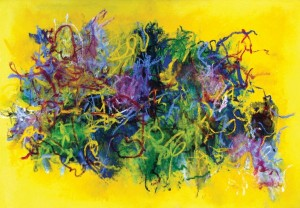 Cleve Gray, Release #21, 2004, oil stick on canvas, 45 x 65 inches.