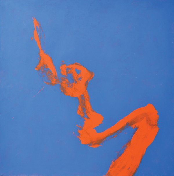 Cleve Gray, Floating Red, 1990, acrylic on canvas, 60 x 60 inches.