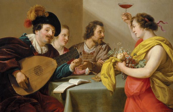Theodoor Rombouts, Musical Company with Bacchus, oil on canvas, 106 x 163 cm.;