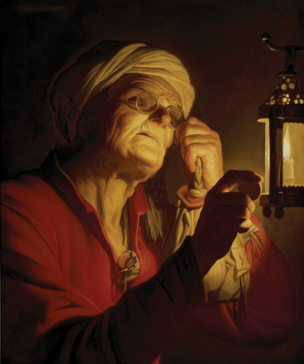 Gerrit van Honthorst, Old Woman Examining a Coin by a Lantern (Sight or Avarice), oil on canvas, 75 x 60 cm.