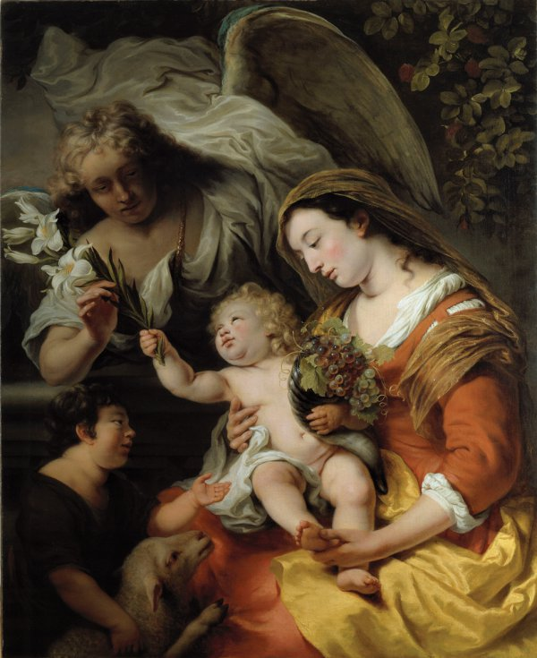 Ferdinand Bol, The Virgin and Child with the Infant St. John the Baptist and Gabriel, oil on canvas, 120 x 90.5 cm;