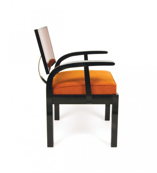 One of a pair of Hungarian modernist chairs by Lajos Kozma, circa 1930s, lacquer frame, rust brown polished back.