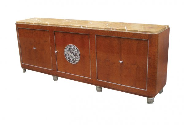 Sideboard with metalwork by Edgar Brandt, 1930s, nickel, bronze, amboyna with silver gilt
