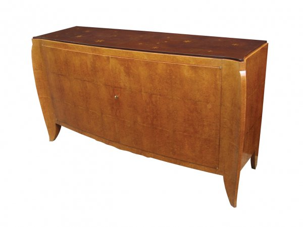 Sideboard by Dominique, French, crica 1930s, amboyna marquetry, gilt geometric details.