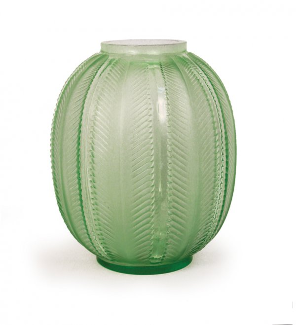 Glass vase by René Lalique, signed
