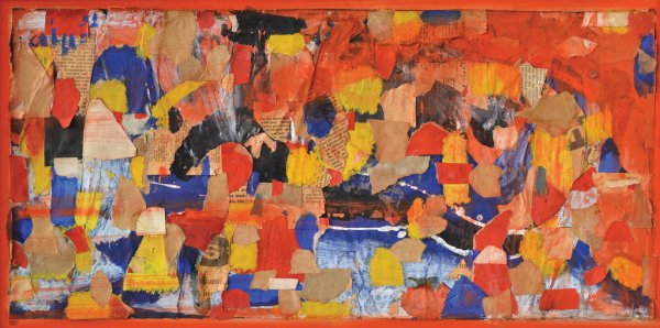 John Grillo, Red Vapors, 1952, collage on board, 10 ½ x 22 inches;