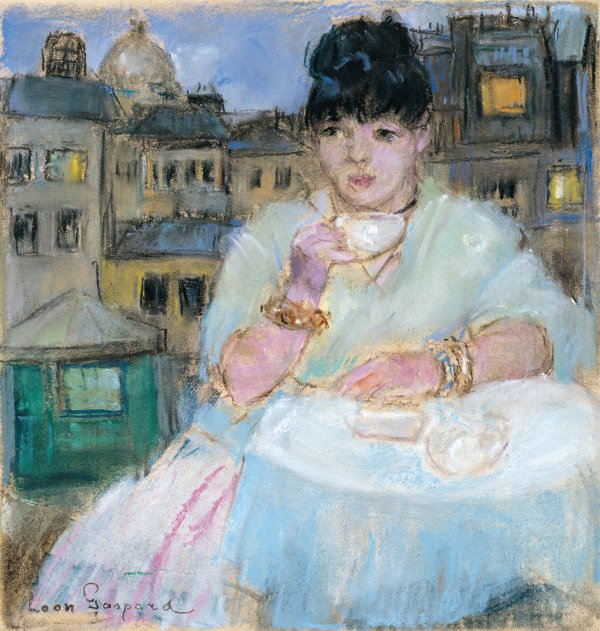 Leon Gaspard, Dora in Paris, pastel, 10 x 9 5/8 inches;