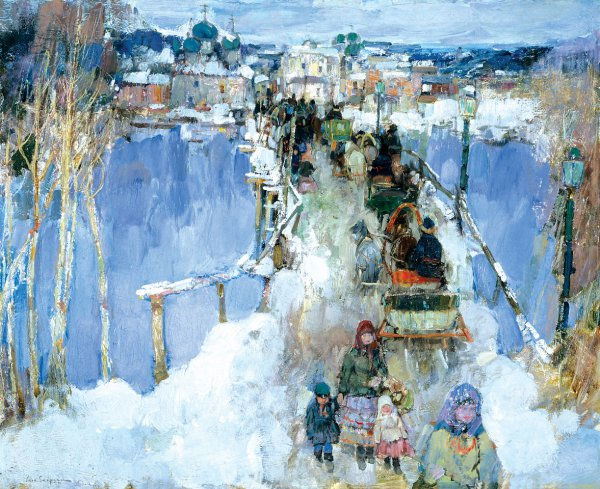 Leon Gaspard, Smolensk–Winter (The Bridge at Smolensk), 1914, oil on canvas on board, 24 1/8 x 30 inches.