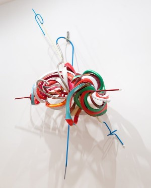"Frank Stella, ""k.305 (ABS Red)"" (2012), mixed media, 94 x 75 x 33 inches"