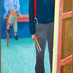 David Hockney, Self Portrait with Charlie, 2005, oil on canvas, 72 x 36 inches.