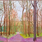 David Hockney, Woldgate Woods, 30 March–21 April, 2006, oil on six canvases, 36 x 48 inches each, 72 x 144 inches overall;