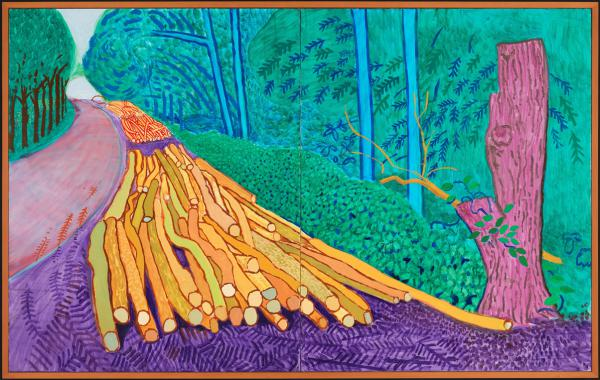 David Hockney, More Felled Trees on Woldgate, 2008, oil on two canvases, 60 x 48 inches each, 60 x 96 inches overall