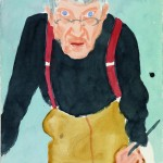 David Hockney, Self Portrait with Red Braces, 2003, watercolor on paper, 24 x 18 1/8 inches;