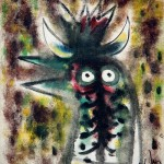Wlfredo Lam, Gallo Caribe (Caribbean Rooster), 1944, oil on canvas, 11 ½ x 9 3/4 inches;