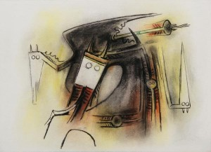 Wifredo Lam, Figuras de Trópico (Figures of the Tropics), 1966, pastel on heavy paper laid down on board, 22 x 29 ¾ in