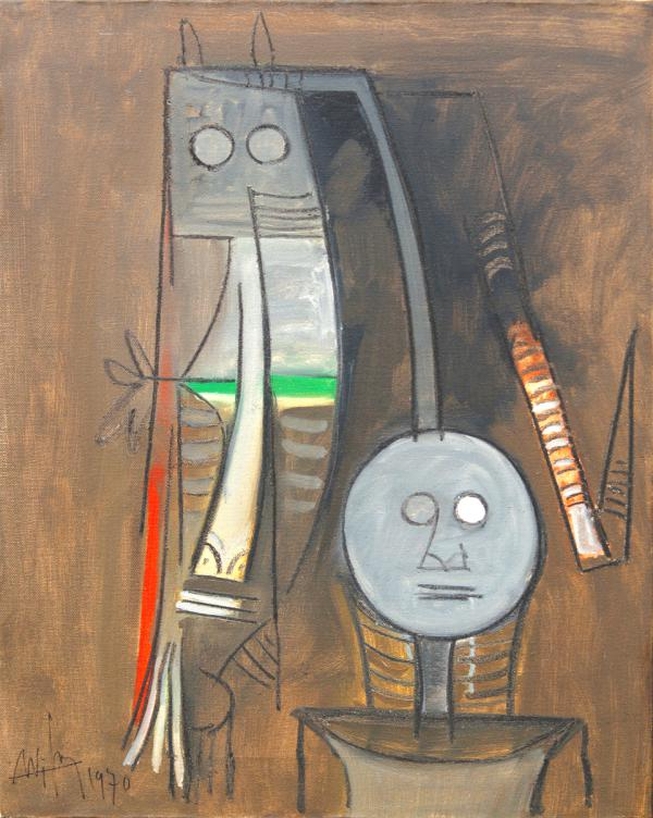 Wilfredo Lam, Ídolo (Idol), 1970, oil on canvas, 19 5/8 x 15 ¾ in.