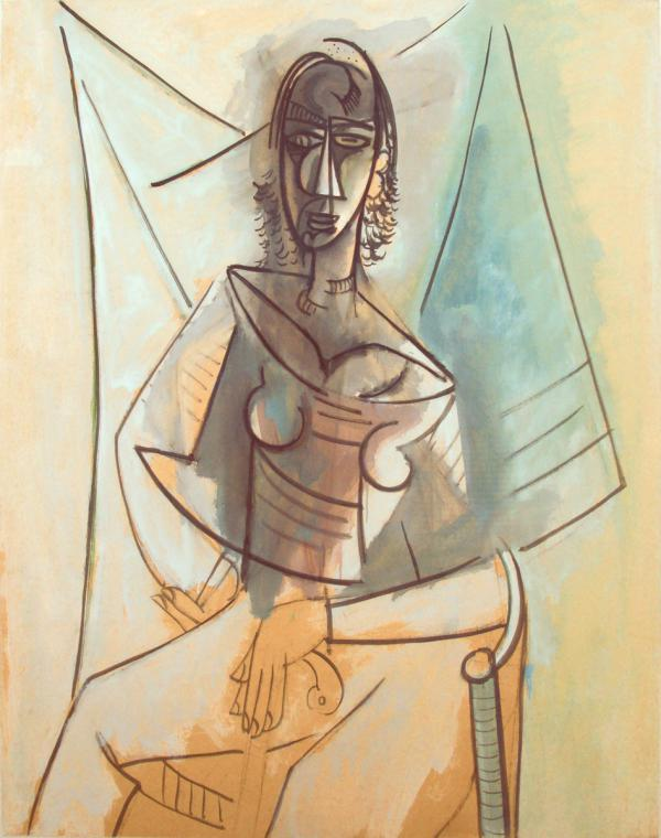 Wilfredo Lam, From top: Mujer Sentada (Seated Woman), 1944, oil on paper laid down on board, 42 x 33 in.;