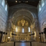 Installation images of Janet Cardiff's The Forty Part Motet, 2001, Fuentiduena Chapel at The Cloisters museum and gardens