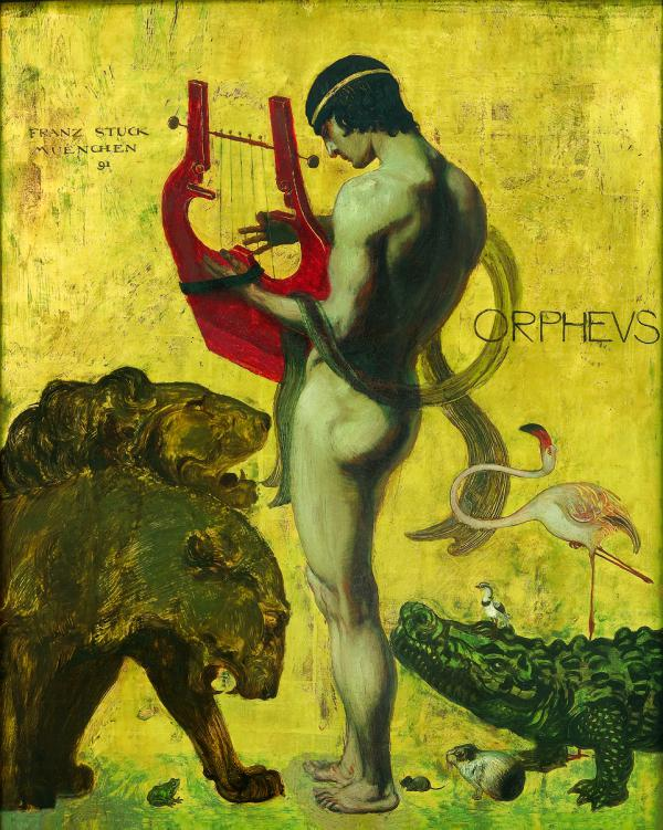 Franz von Stuck, Orpheus, 1891, oil on panel, gold leaf;