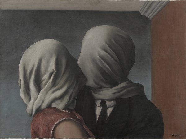 René Magritte, Les amants (The Lovers), 1928, oil on canvas.