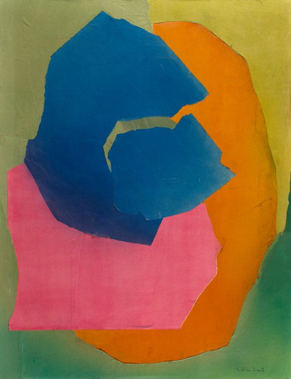 Esteban Vicente, Kalani, Hawaii, 1969, colored paper and charcoal on paper panel