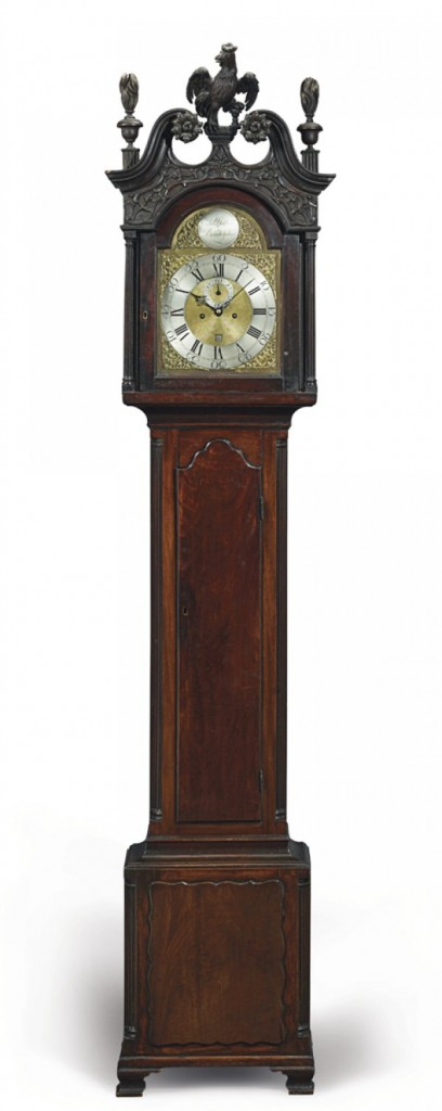 Mid-18th-century walnut tall-case clock signed by Edward Duffield, with cabinet attributed to artisans Nicholas Bernard and Martin Jugiez
