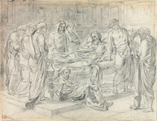 Eugène Delacroix, preparatory drawing for The Last Words of Marcus Aurelius, circa 1844, black chalk on paper