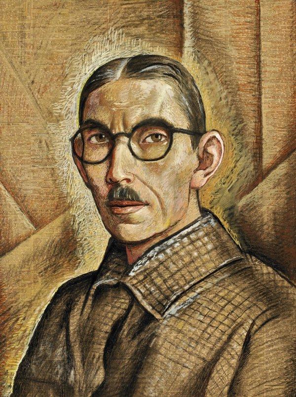 Alfredo Ramos Martínez, Autorretrato (Self-Portrait), circa 1938, tempera on newsprint.