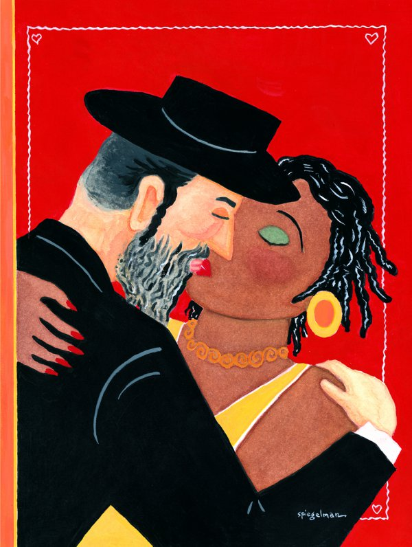 "Art Spiegelman, Cover art for ""Valentine's Day,"" The New Yorker, February 15, 1993, gouache and watercolor on paper"