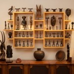 Some of Leslie Sacks' African objects installed in his home.