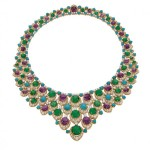 Bulgari, bib necklace, 1965, gold with emeralds, amethysts, turquoise, and diamonds.