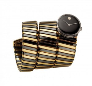 Bulgari, Tubogas bracelet watch, circa 1972, gold and burnished steel