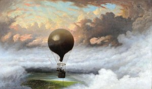 Jules Tavernier, A Balloon in Mid-Air, 1875, oil on canvas, 30 x 50 inches