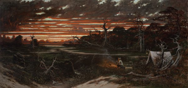 Jules Tavernier, Artist's Rêverie, Dreams at Twilight, 1876, oil on canvas, 24 x 50 inches.